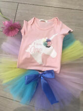 MY 1st FIRST BIRTHDAY CAKE SMASH PARTY PRINCESS PINK ROMPER RAINBOW TUTU OUTFIT