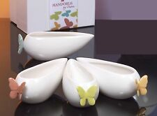 4pz Salsiera Bomboniera 14cm porcellana Collezione Butterfly Mandorle by Paben