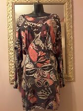 FRENCH CONNECTION  Butterfly Print Jersey Batwing Crew Neck Dress Size 10