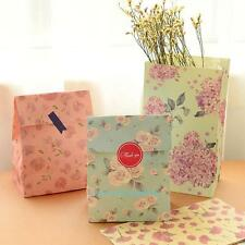12pcs Floral Birthday Gift Paper Bag Xmas Wedding Party Favour Bag Color Random
