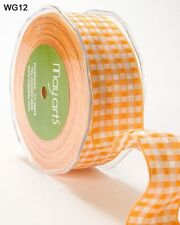MAY ARTS RIBBONS~WOVEN CHECK~ORANGE YELLOW & WHITE~WIRE EDGES~1.5 INCH X 1 YARD!