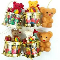 Christmas figure ornament decoration Teddy bear Drum Flocked Small Bulk Vintage