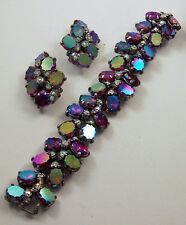 SCHIAPARELLI Aurora Borealis Crystals Link Bracelet and Clip Earrings Set