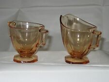 Vintage Fostoria Mayfair Amber Depression Glass Cream & Sugar Set