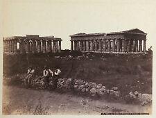 Paestum Italie Italia Temples Grecs Vintage ca 1870