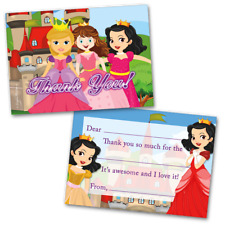 10 Kids Thank You Cards Princess Themed and 10 Envelopes