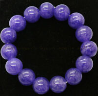 AA+ Natural 12mm Purple Jade Gemstone Round Beads Stretchy Bracelet 7.5''