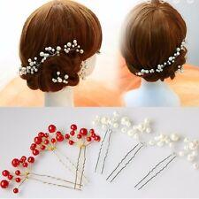 Haarnadel mit Perle Rot Weiß Hairpin