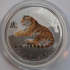 Original 2010 Australia 1 Dollar Lunar 1 oz .999 silver coloured Year of Tiger
