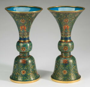 A pair of 19th/20th Century Chinese cloisonne Gu shape  vases 747