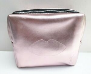 """YSL Beauty Champagne Gold """"Lip"""" Makeup Cosmetics Bag / Pouch / Clutch, New!"""