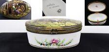 Antique Limoges bijou BOÎTE A M R main EMAILLE Porcelaine Boîte Spinning Wheel