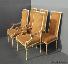 Set Four Vintage French Provincial Orange Striped Dining Chairs ~ Five Chairs