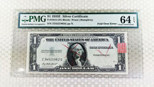 1935 $1 silver certificate Fold Over Error Bep Rejection marks & Tag Pmg 64 Epq