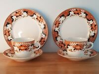 """A Pair of Antique Clifton China Cup Saucer Trio's Rare """"Truro"""" Pattern."""