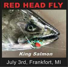 Premium Salmon Trolling Fly Red Head Strong Glow - Tournament Rigged