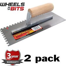 "2PK 11"" Float Trowel Notched Builder Brick Cement Plasterer Floor wooden handle"