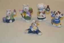lot 5 Eddie Walker Easter Village 4 Bunny, 1 dog with eggs baker painters