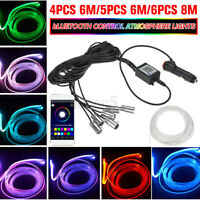 6M/8M RGB LED Car Interior Fiber Optic Neon EL Wire Strip Light Atmosphere  e ∫