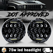 Pair 7 Inch 75W LED Headlight Hi/Low Beam Driving Fog DRL Lamp for Hummer H1 H2