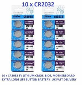 10 x CR2032 3V LITHIUM CMOS BIOS MOTHERBOARD EXTRA LONG LIFE BUTTON BATTERY_FREE