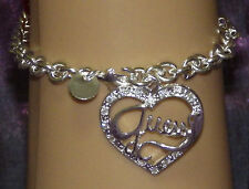 New 925 Sterling Silver Filled Guess What's In My Heart Chain Bracelet