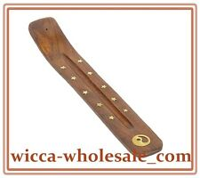 "Wholesale 1 One Ying Yang Wooden Incense Burners Ashcatchers Boat Type 10"" Long"