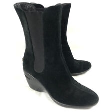 Cole Haan NikeAir Womens Boots Black Suede Leather Wedge Sz 6.5 Pull On Comfort