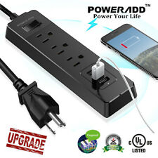 5FT 3 Outlet Power Strip Surge Protector 3 USB Wall Charger Port Lightningproof