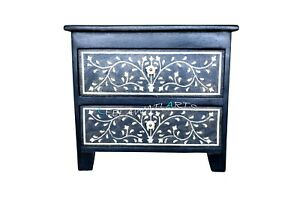 Wood inlay bedside 2 drawer bone inlay bedside