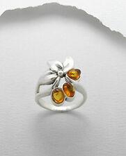 Baltic Amber Flower Leaf Statement Ring Sterling Silver Sz 7
