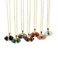 Hexagone Quartz Natural Treatment Aura Collier en Pierre Gemme Pendentif en Or