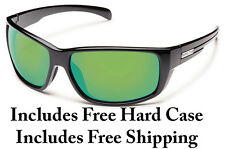 Suncloud Milestone Sunglasses - Black w/ Green Mirror Polarized - Free Hard Case