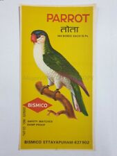 India Vintage Large Packet Label PARROT MATCH BOX 5.75in x 11in