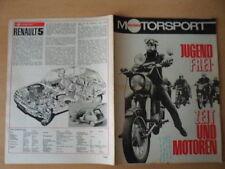 ILLUSTRIERTER MOTORSPORT 4 - 1972 ** Jugend-Freizeit und Motoren Renault 5 Skoda