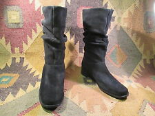 Talbots Ladies Suede Slouch Style Boots Low Heel Sz 5.5 M Casual Dress EUC