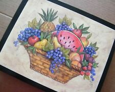 """FRUIT Apple Strawberry Cherry Grape Wooden Country Kitchen Decor 9x11"""" Wood Sign"""