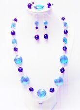 Chunky Aqua Blue Faceted Flat Round Disc w/Black Aqua Splatter Glass Bead Set