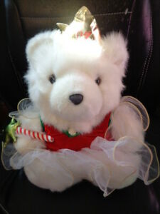 "Bear White 1997 Dayton Hudson 12"" Plush Nutcracker Christmas Angel Fairy Crown"