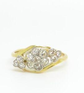 Stunning Art Deco 18ct Gold Diamond Flower Cluster Ring