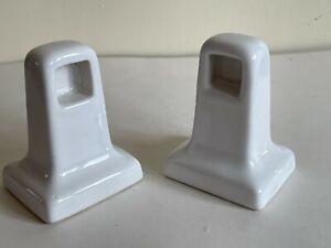 Pair Vintage White Ceramic Porcelain Towel Bar Rack Holders Mid Century Modern
