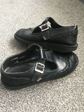 Kickers Black Leather School Girls Child's Size 6  EU 39 Shoes Boots