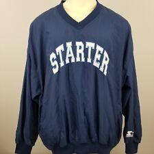 Starter Mens Size XXL Blue Pullover Windbreaker Jacket Side Zip SpellOut 90s Vtg