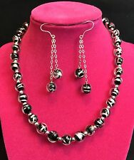 Stunning & Elegant Murano Glass Beads and Sterling Silver Necklace & Earrings