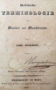 MUSIK-LEXIKON 1839 Gollmick, Kritische Terminologie für Musiker und Musikfreunde