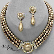 CLASSIC GOLD PEARL & CRYSTAL WEDDING FORMAL NECKLACE JEWELRY SET TRENDY