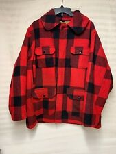 VTG Woolrich Red Black Buffalo Wool Flannel Jacket Lined Made in USA Men's 44