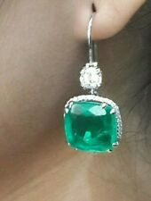 925 Sterling Silver CZ Green Cushion white round dangle Earrings - magnifique