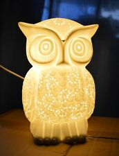 Porzellan Lampe Leuchte Eule Beleuchtung Wohn Dekoration Figur Neu
