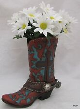 Western Cowboy Boot Vase Cowgirl Flower Rustic Resin Burnt Red Turquoise Cross